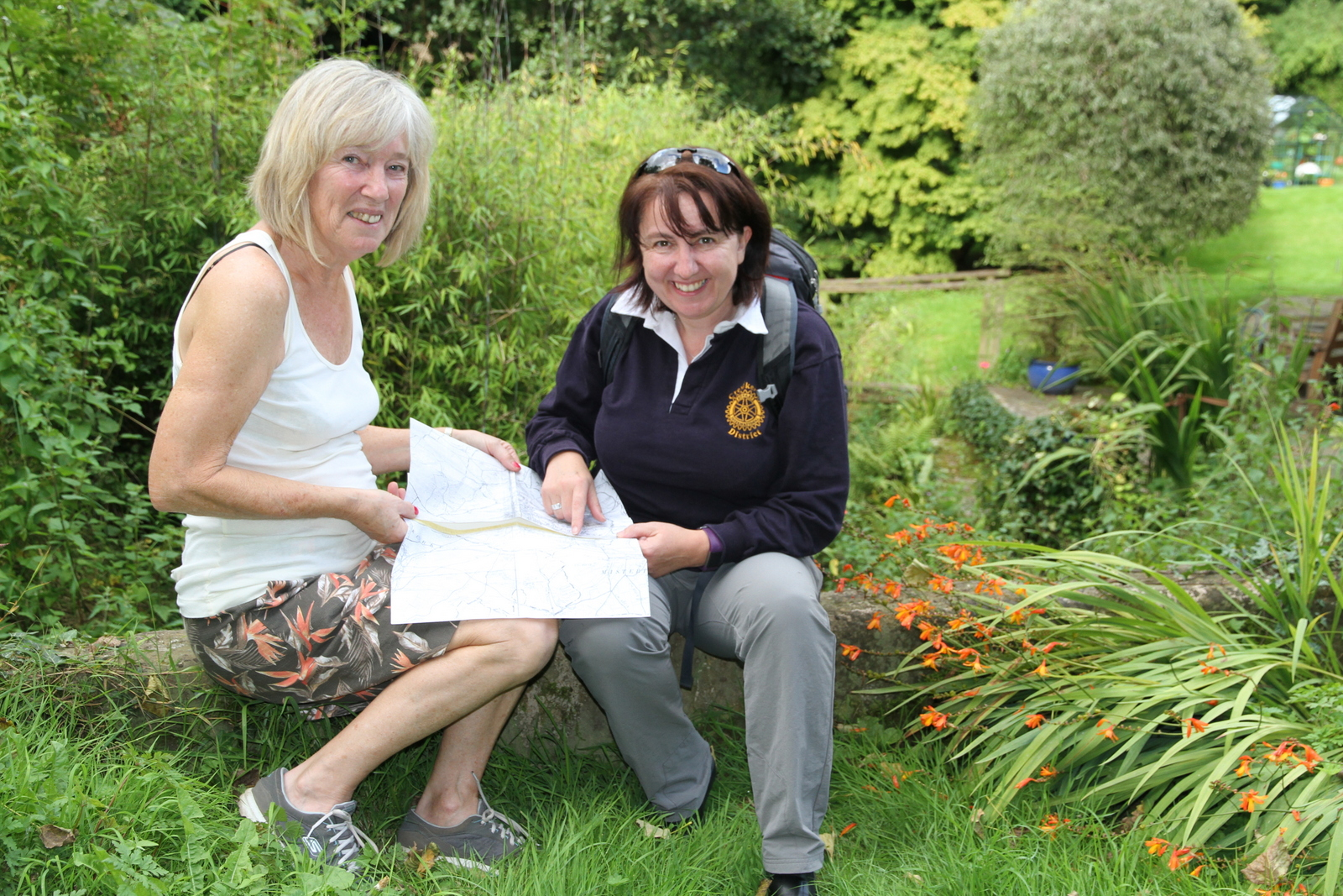 Photo shows Gail Coleshill and Caroline Dredge at the Boundary point at Shutteroaks Bridge.